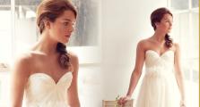 Bride in bustier for wedding