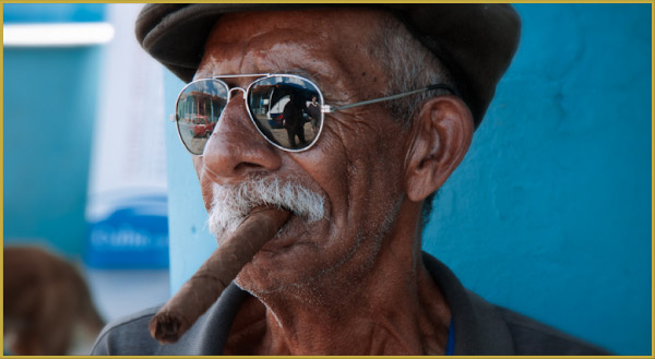 old Cuban man smoking a cigar