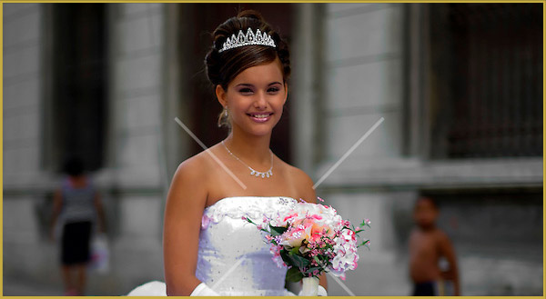 young woman wedding day
