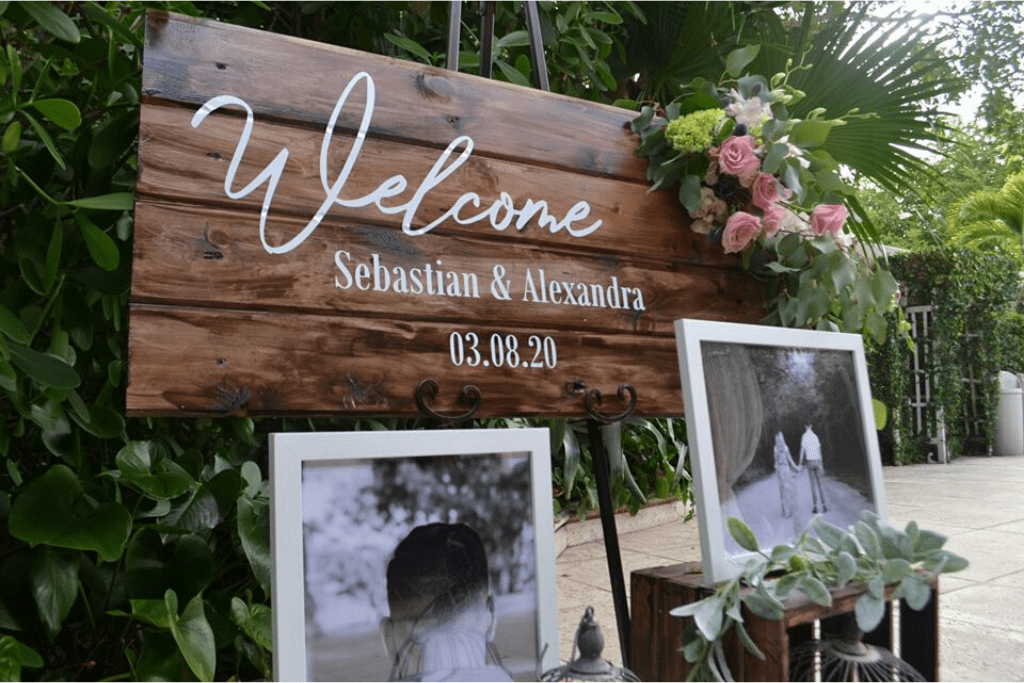 "A rustic wedding ""welcome"" sign"