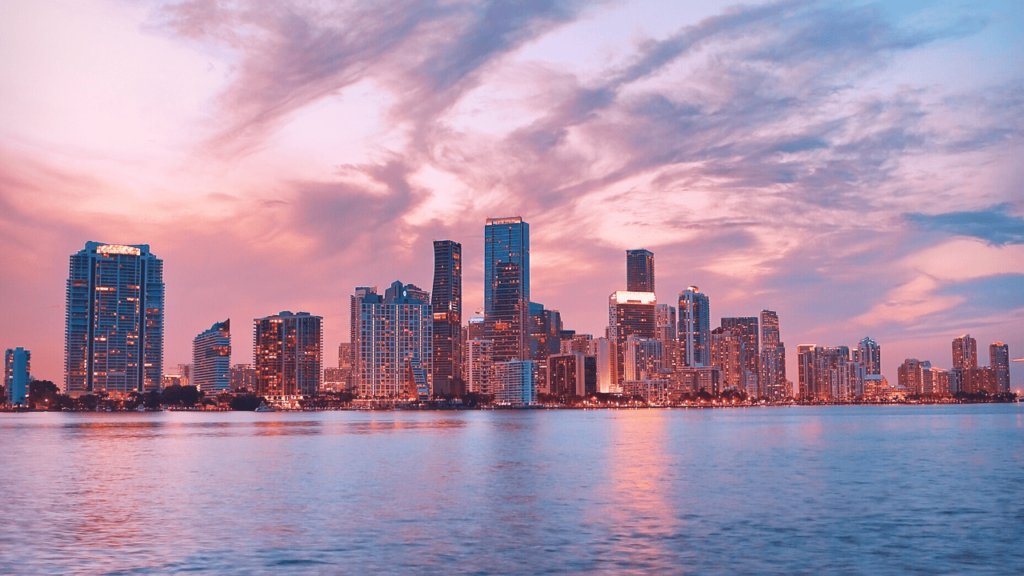 A gorgeous sunset against the skyline of Miami