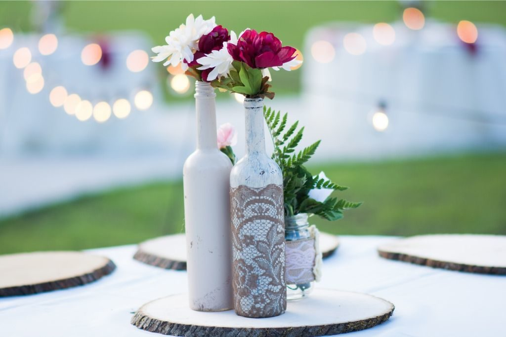 Rustic wedding centerpieces on a table