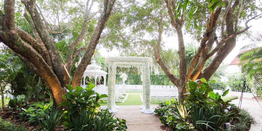 An outdoor wedding venue at Grand Salon Reception Hall